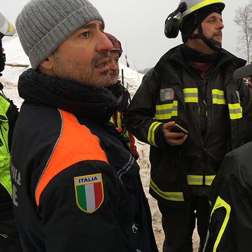 Response to fatal Italian avalanche*Extremely heavy snowfall, coupled with four intense earthquakes in a mountainous area of central Italy, led to a fatal avalanche that engulfed a hotel, writes Luigi D'Angelo, as he describes search and rescue efforts